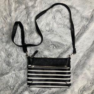 Merona Black and White Stripe Cross Body Bag
